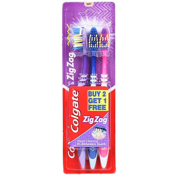 Colgate Zigzag Soft Toothbrush (Buy 2 Get 1 Free) Pack Of 3
