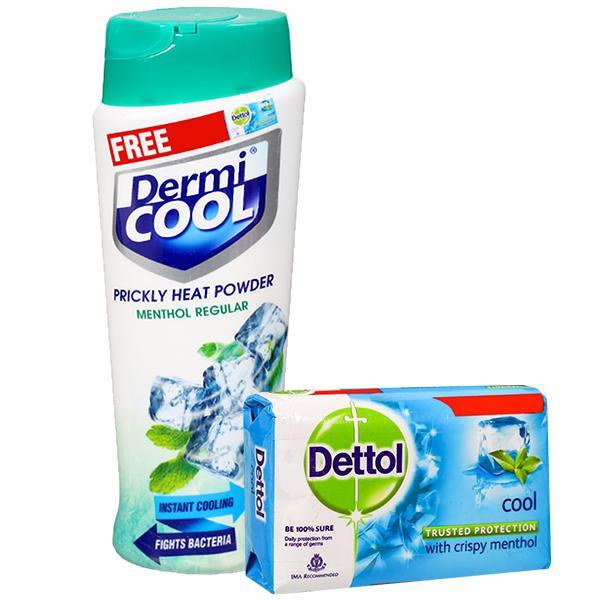 Dermi Cool Menthol Regular Prickly Heat Powder (Free Dettol Soap 125 g) 150 g