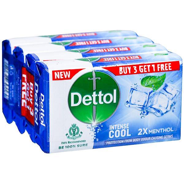 Dettol Intense Cool 2X Menthol Soap (Buy 3 Get 1 Free) 4 x 75 g