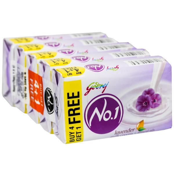 Godrej No.1 Lavender And Milk Cream Soap (Buy 4 Get 1 Free) 5 x 100 g