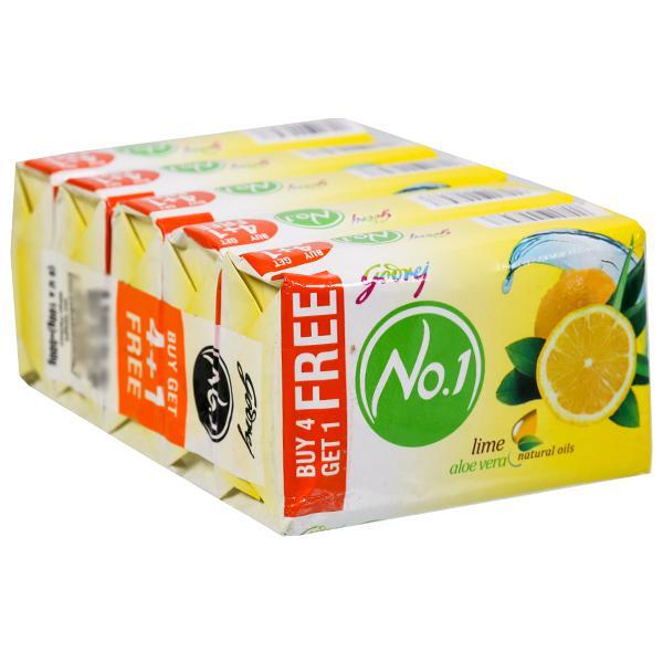 Godrej No.1 Lime And Aloe Vera Soap (Buy 4 Get 1 Free) 5 x 100 g