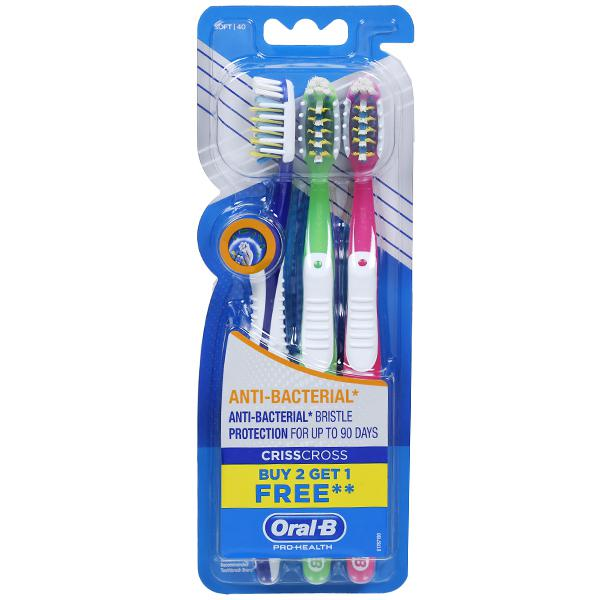 Oral B Pro Health CrissCross Anti Bacterial Soft Toothbrush (Buy 2 Get 1 Free) Pack Of 3