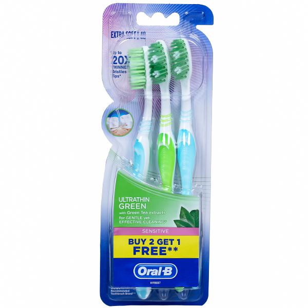 Oral B Sensitive Ultrathin Green Extra Soft Toothbrush (Buy 2 Get 1 Free) Pack Of 3